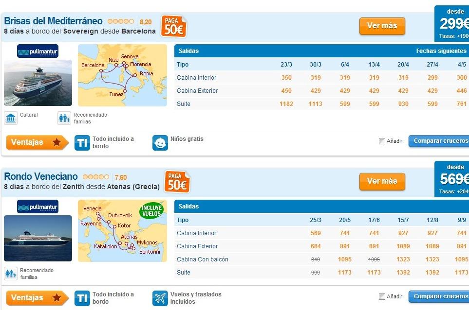 precios de cruceros por el mediterraneo